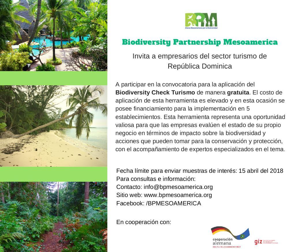 Biodiversity Partnership Mesoamerica invita a empresas turísticas de la República Dominicana a convocatoria para aplicación del Biodiversity Check Turismo